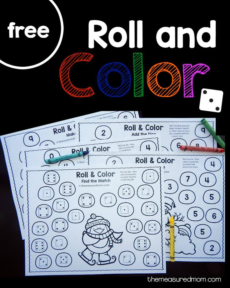 Free winter roll and color games | Color games, Preschool and ...
