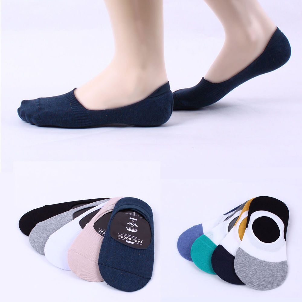 4 Pairs Men No Show Invisible nonslip Fake Socks Ankle Low Cut Loafer Boat