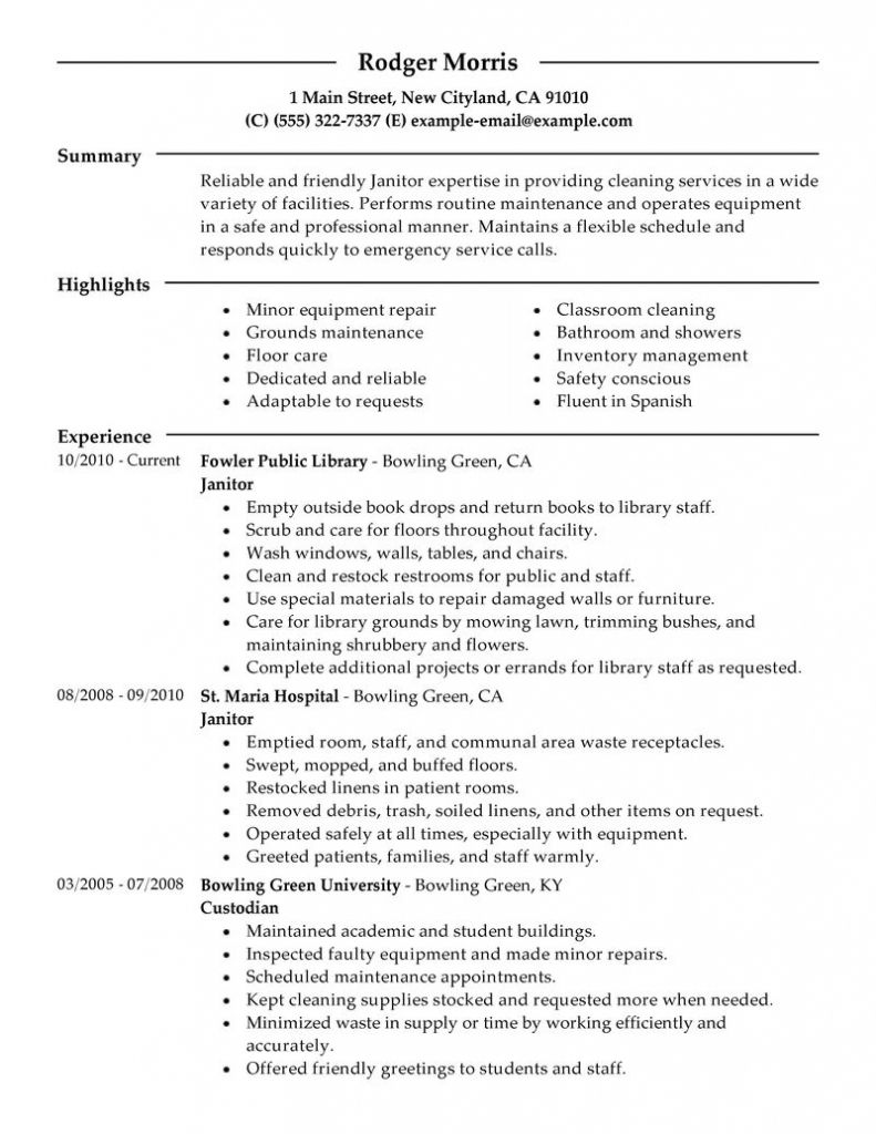 Resume Custodian Duties Examples Nice Custodial And Letter Writing