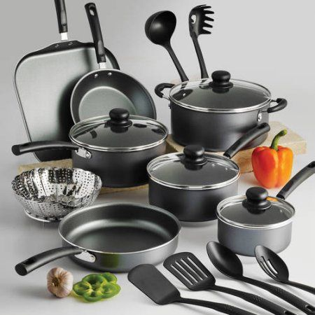 kitchen pot sets modern faucets tramontina primaware 18 piece nonstick cookware set gray products