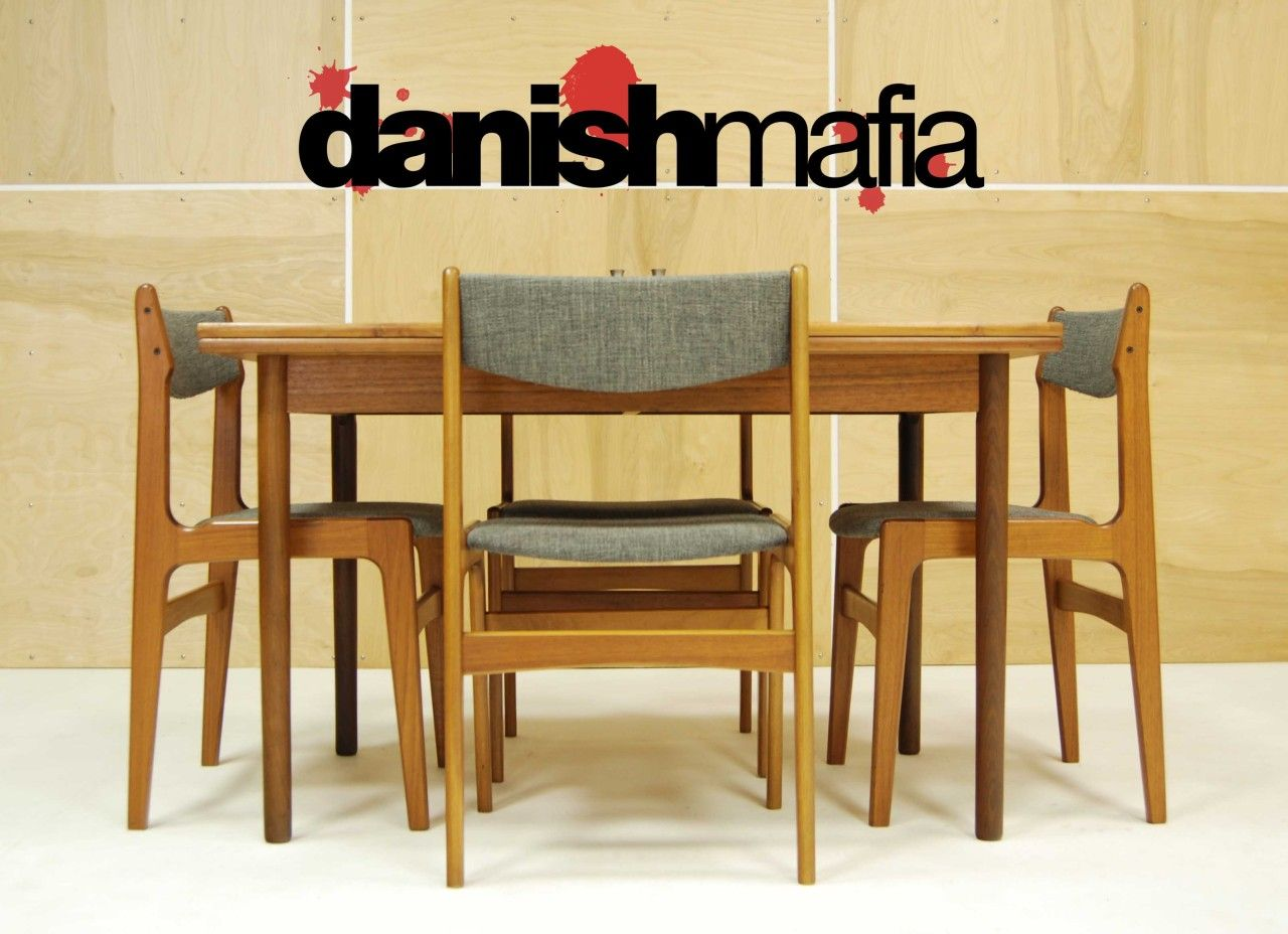 danish modern dining chair eames plastic mid century chairs teak complete set table 6
