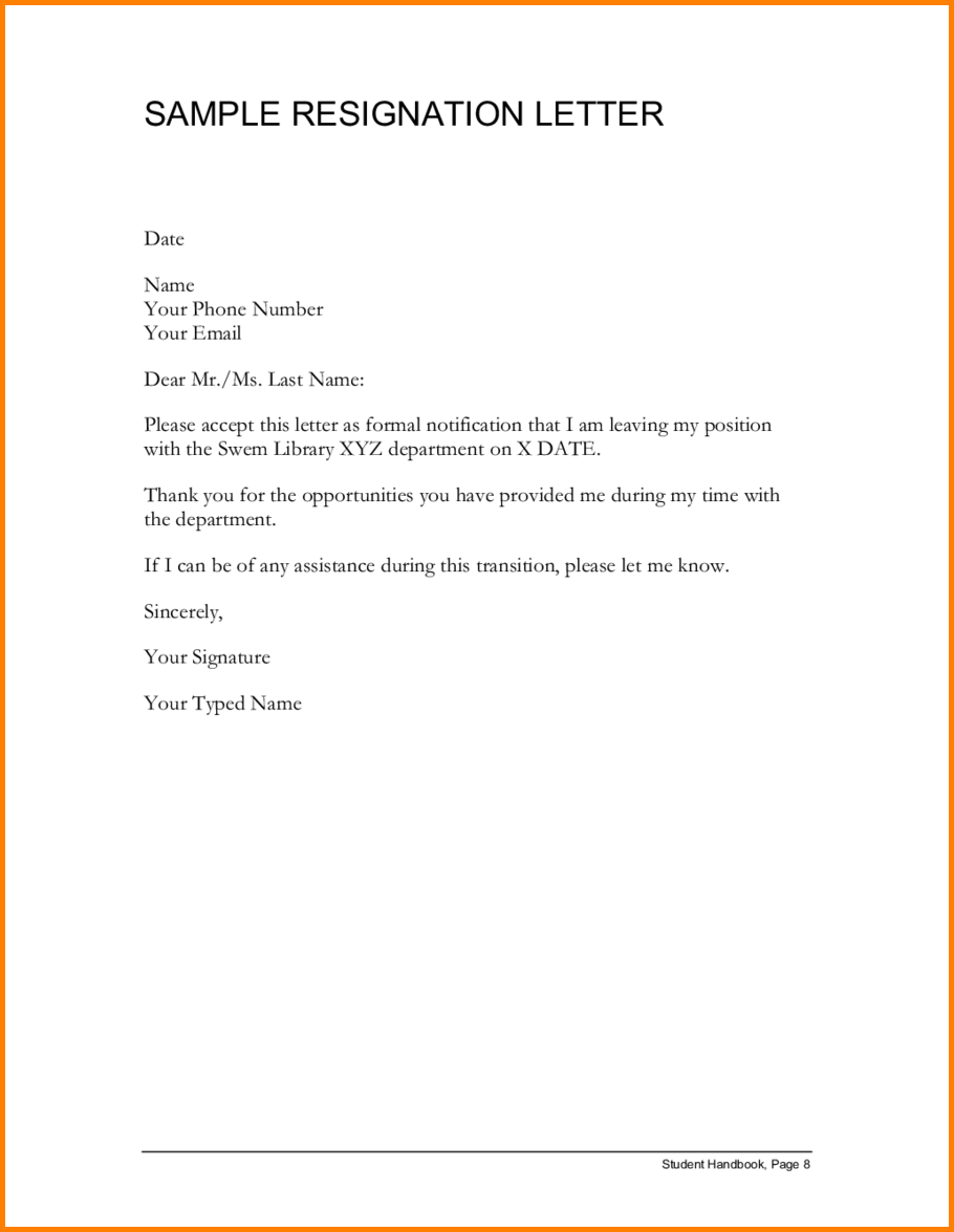 letter of resignation letter template