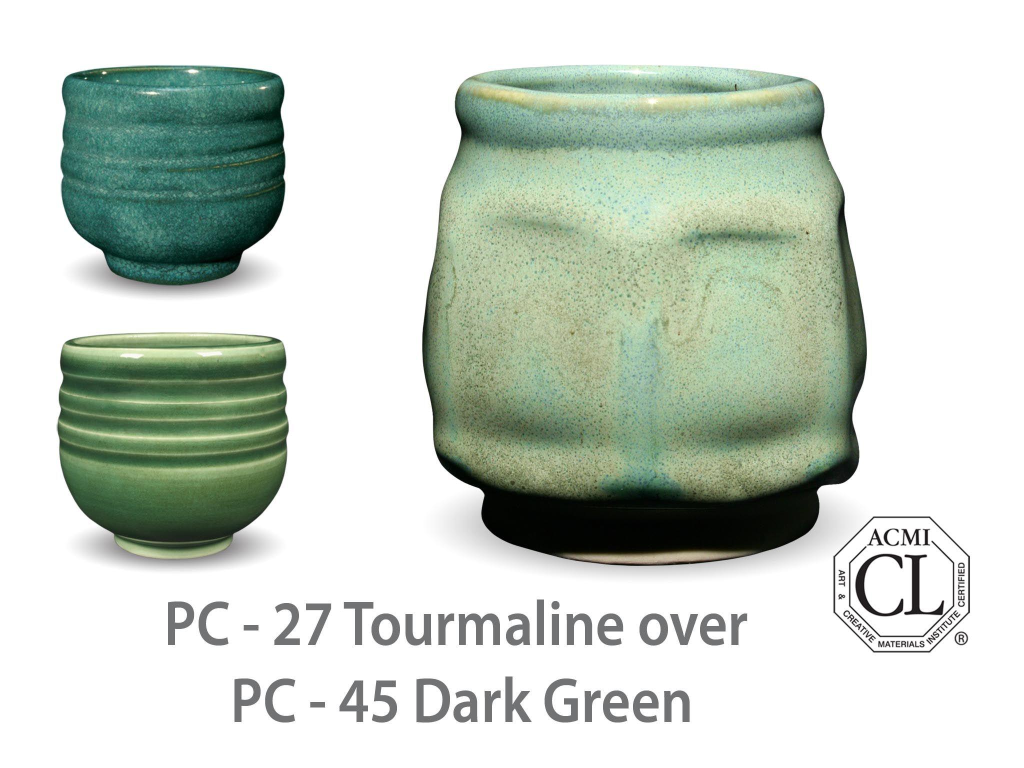 Amaco Potter S Choice Layered Glazes Pc 45 Dark Green And Pc 27 Tourmaline Amaco Glazes Ceramic Glaze Recipes Pottery Glazes