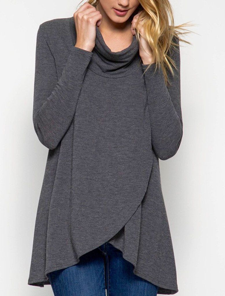 Cowl Neck Overlapping Wrap Sweater | Cowl neck, Tunics and Cozy