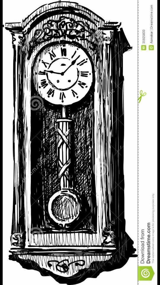 Grandfather clock sketch | drawing | Wall clock vector ...