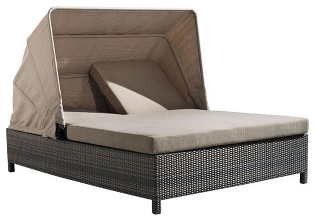 Modern Outdoor Double Chaise Lounge With Canopy Chaise