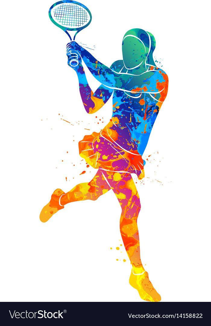 Tennis Player Silhouette Vector Image On En 2020 Con Imagenes Tenis Diseno Grafico Arte