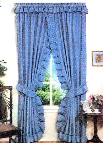 One Rod Criss Cross Ruffled Priscilla, Blue Priscilla Curtains