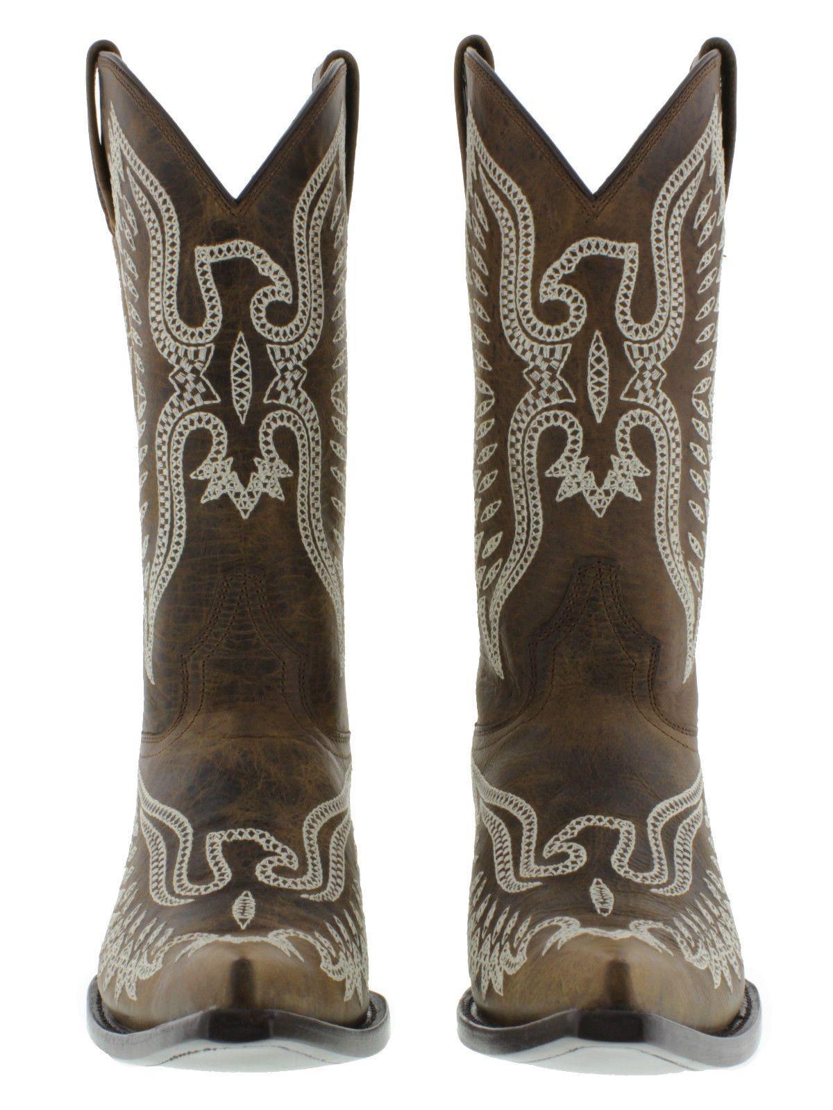 Men's cowboy boots brown leather western biker rodeo phoenix eagle motorcycle