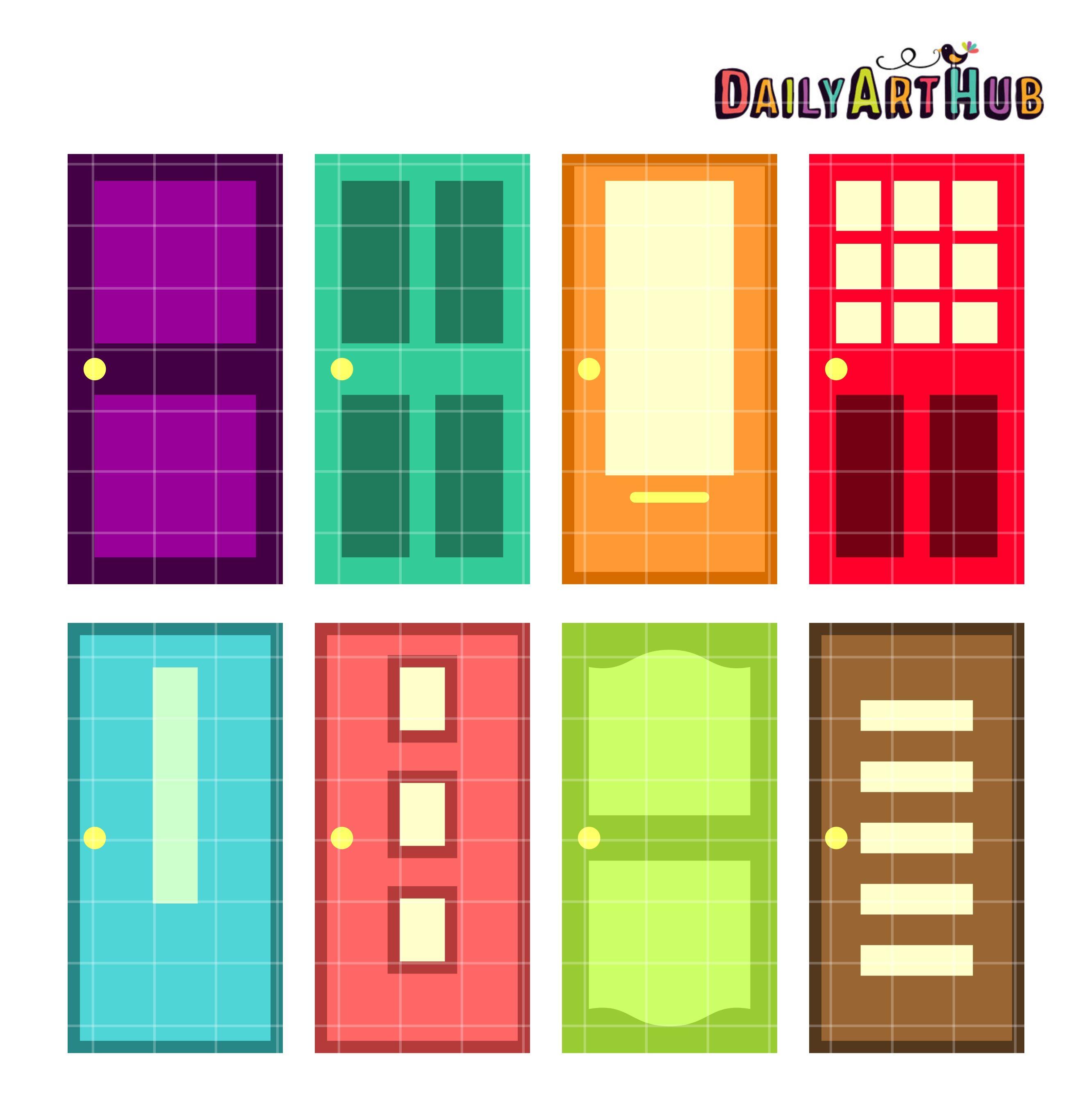 Colorful Doors Clip Art Set Daily Art Hub Free Clip Art Everyday Monsters Inc Doors Monster Decorations Monster Inc Birthday