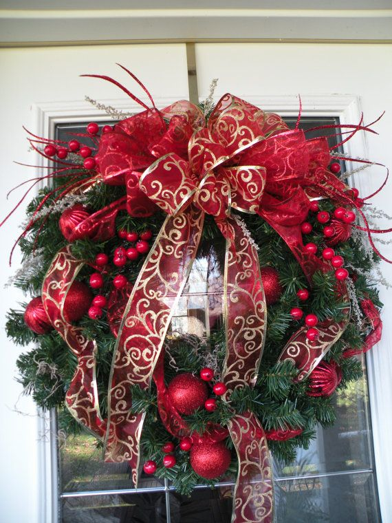 red and gold christmas wreath christmas by kathyswreathshop