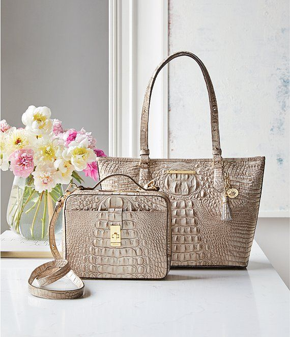 9bf054a16a7e2 BRAHMIN Melbourne Collection Crocodile-Embossed Medium Asher Tasseled Tote  | Dillard's