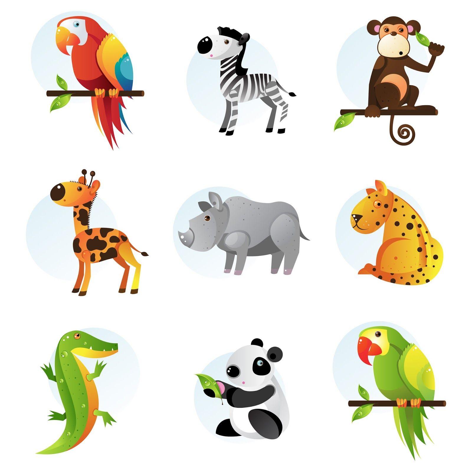 9+ilustraciones+de+animales+de+la+selva+tucan+cebra+chango+koala+ ...