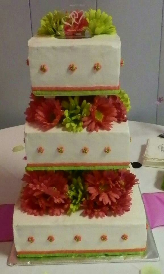 3 tier square wedding cake with pink and lime green silk flowers 3 tier square wedding cake with pink and lime green silk flowers the cakes were mightylinksfo Images