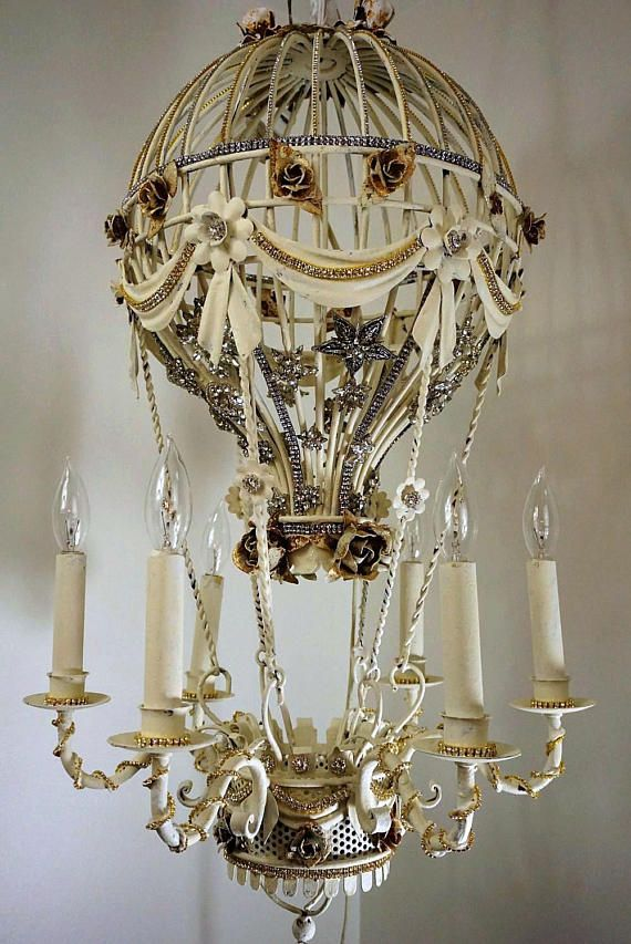 Paris hot air balloon chandelier lighting tole rose and rhinestone paris hot air balloon chandelier lighting tole rose and rhinestone vintage star jewelry embellished circa 1950 mozeypictures Images