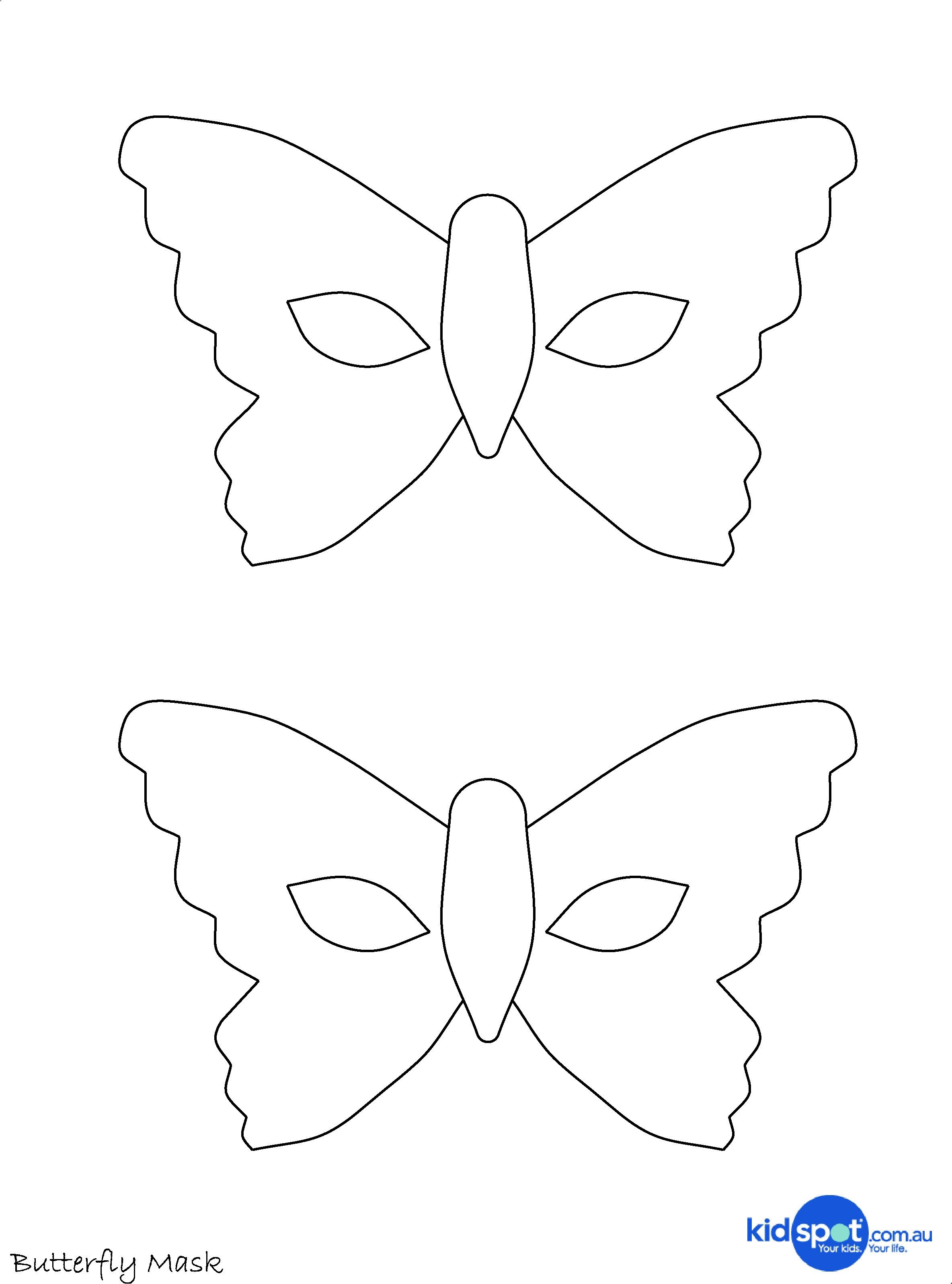 Erfly Mask Templates For Kids