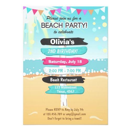 Beach Party Beach Birthday Beach Invitation Zazzle Com With