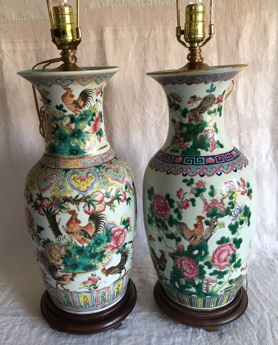 Antique Chinese Pair Of Famille Rose Rooster Porcelain Baer Vases Mounted As Lamps Ginger Jars