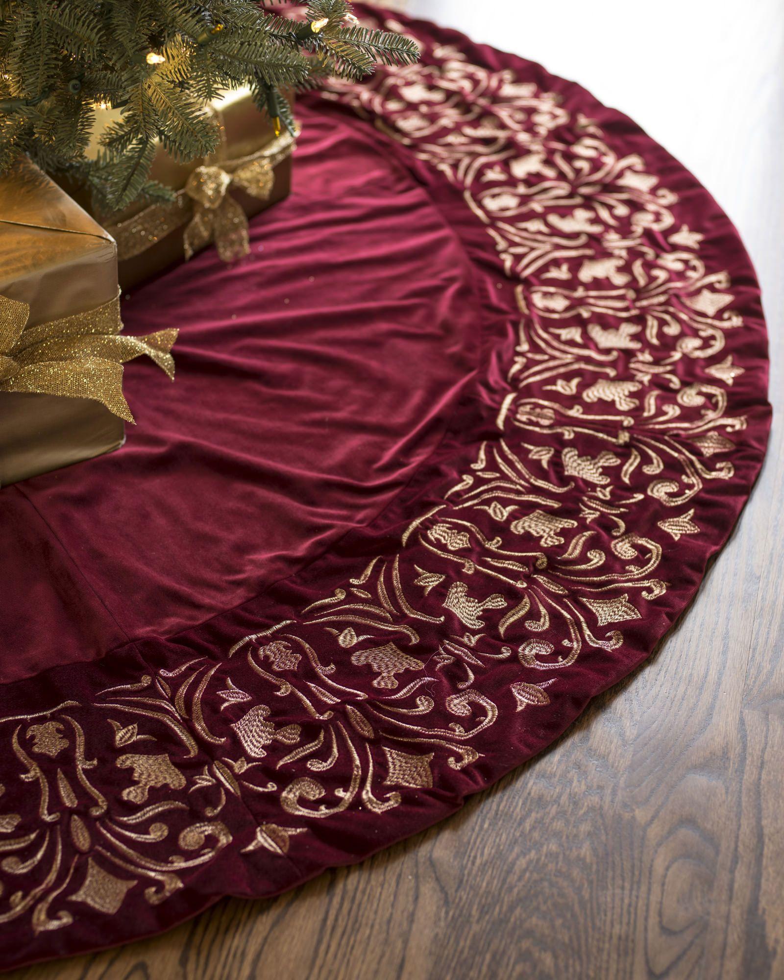 Luxe Embroidered Velvet Tree Skirt Elegant Christmas Trees Christmas Tree Skirt Xmas Tree Skirts