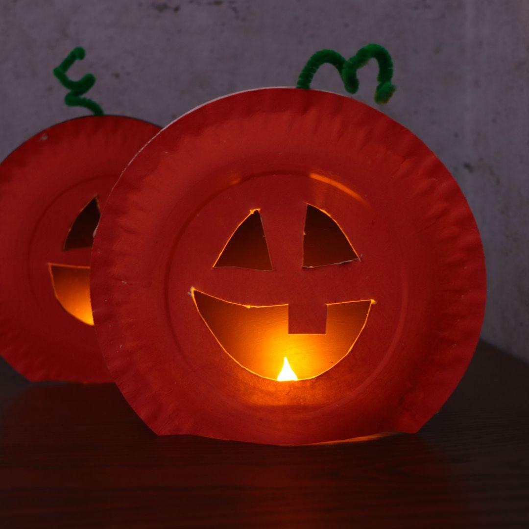 Paper Plate Pumpkin Craft #halloweencraftsforkids