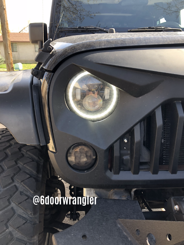 Jeep Wrangler Jeep Angry Eyes Blacked Out Turn Signal Smoky Lense Halo Led Gladiator Grill Eagle Grill Stinger 6 Door Wrang Jeep Black Jeep Angry Eyes