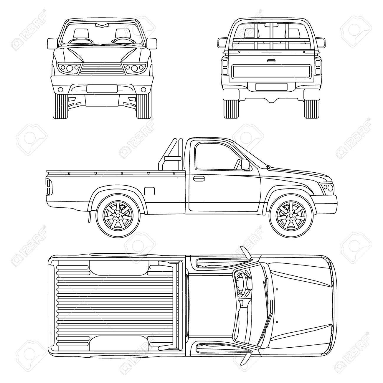 Pickup truck illustration blueprint , AFFILIATE, truck