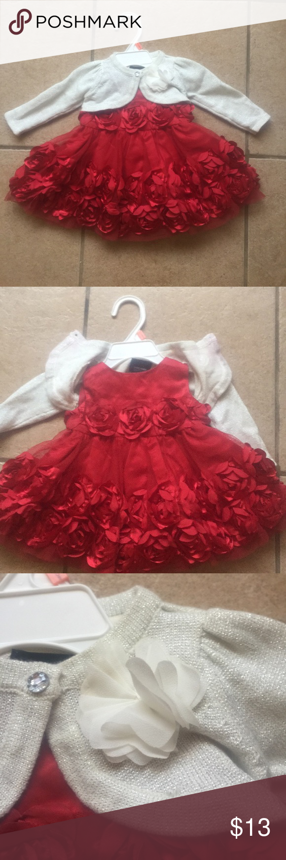 Christmas floral tulle dress with cover up shawl So cute! Worn for a couple hours. Perfect condition. Dresses Formal