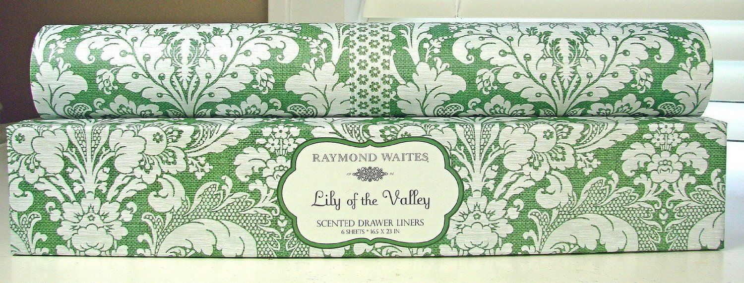 Amazon Com Rwdl02 Raymond Waites Lily Of The Valley Scented Drawer Liners 6 Sheets Green White Paisley Graphi Scented Drawer Liner Green Sheets Drawer Liner