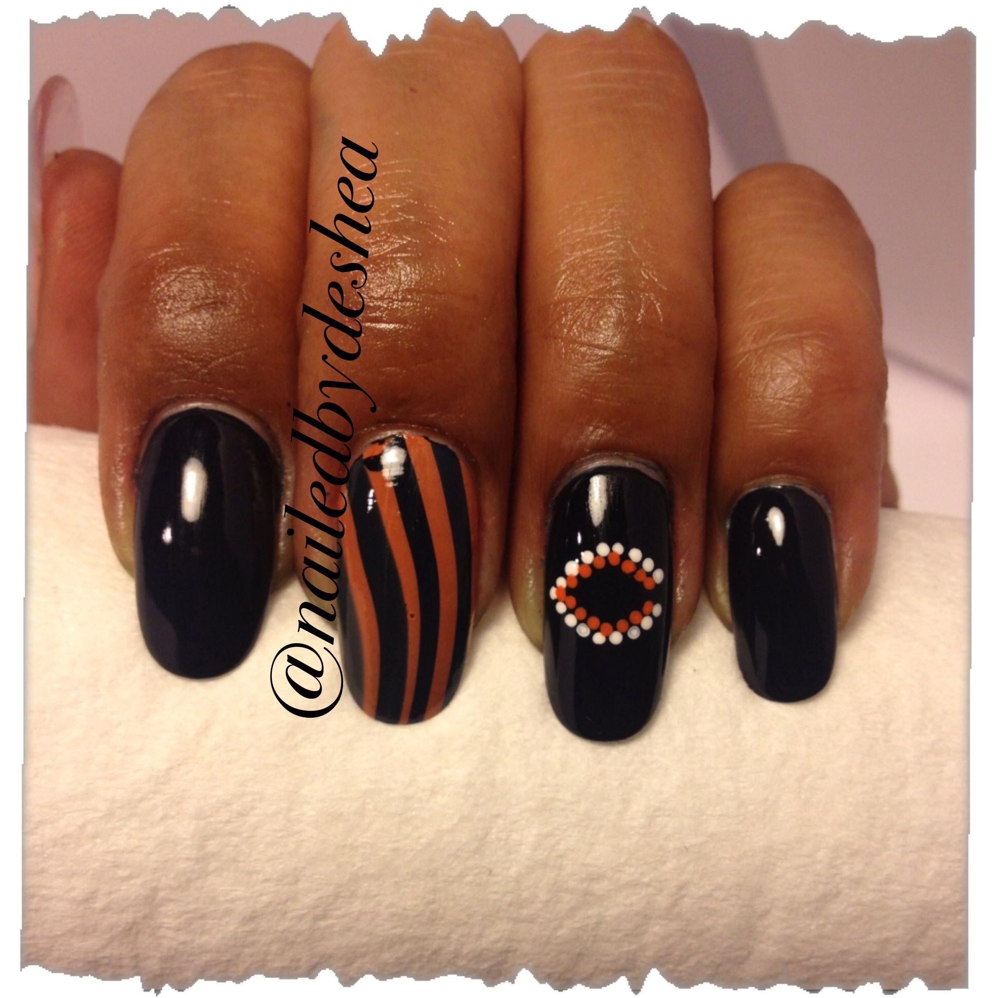 Chicago Bears Nailart Watermarble Sports Nails Nail Art And