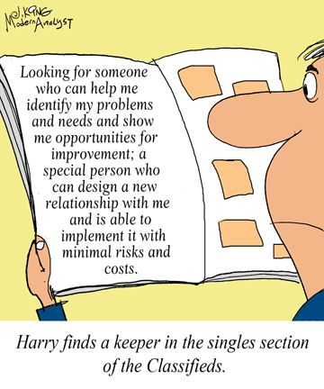 Humor - Cartoon Can the Business Analyst find the perfect match - business analysis