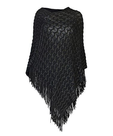 Take a look at this Black Fringe Poncho on zulily today!