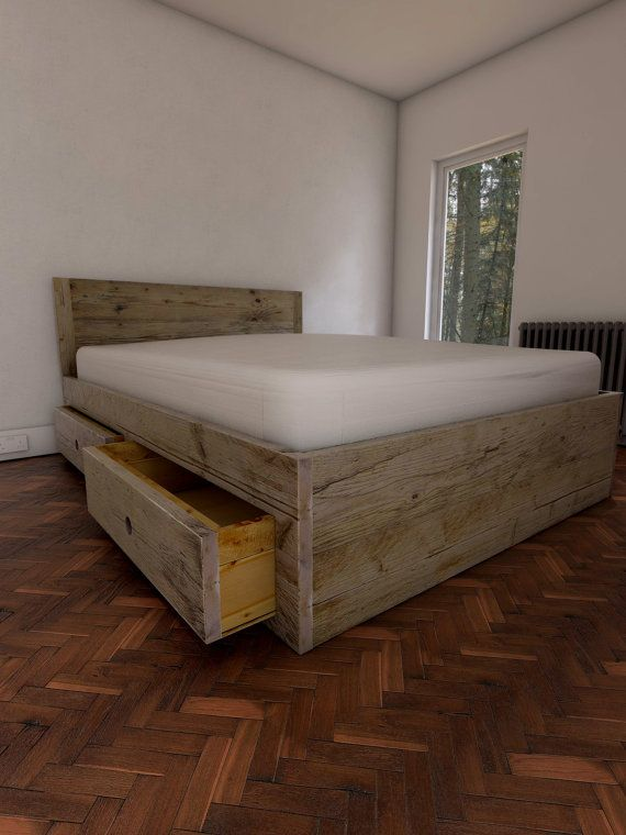 Reclaimed scaffold board double bed base, with 4 large drawers ...