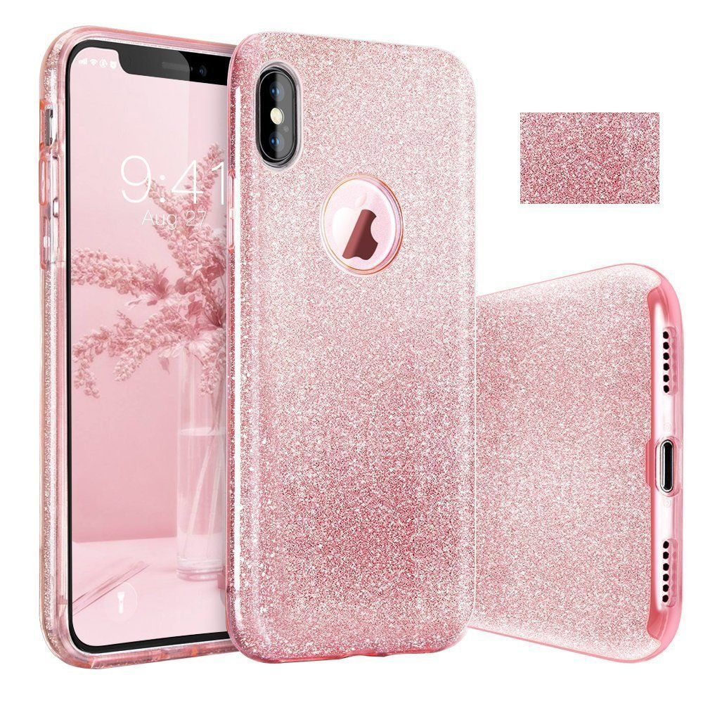iPhone X Case Glitter iPhone 10 Bling Case Sparkle Slim Protective with 3 Layers Hybrid Supports Wireless Charging for Apple iPhone X 5.8 inch (X rose gold)