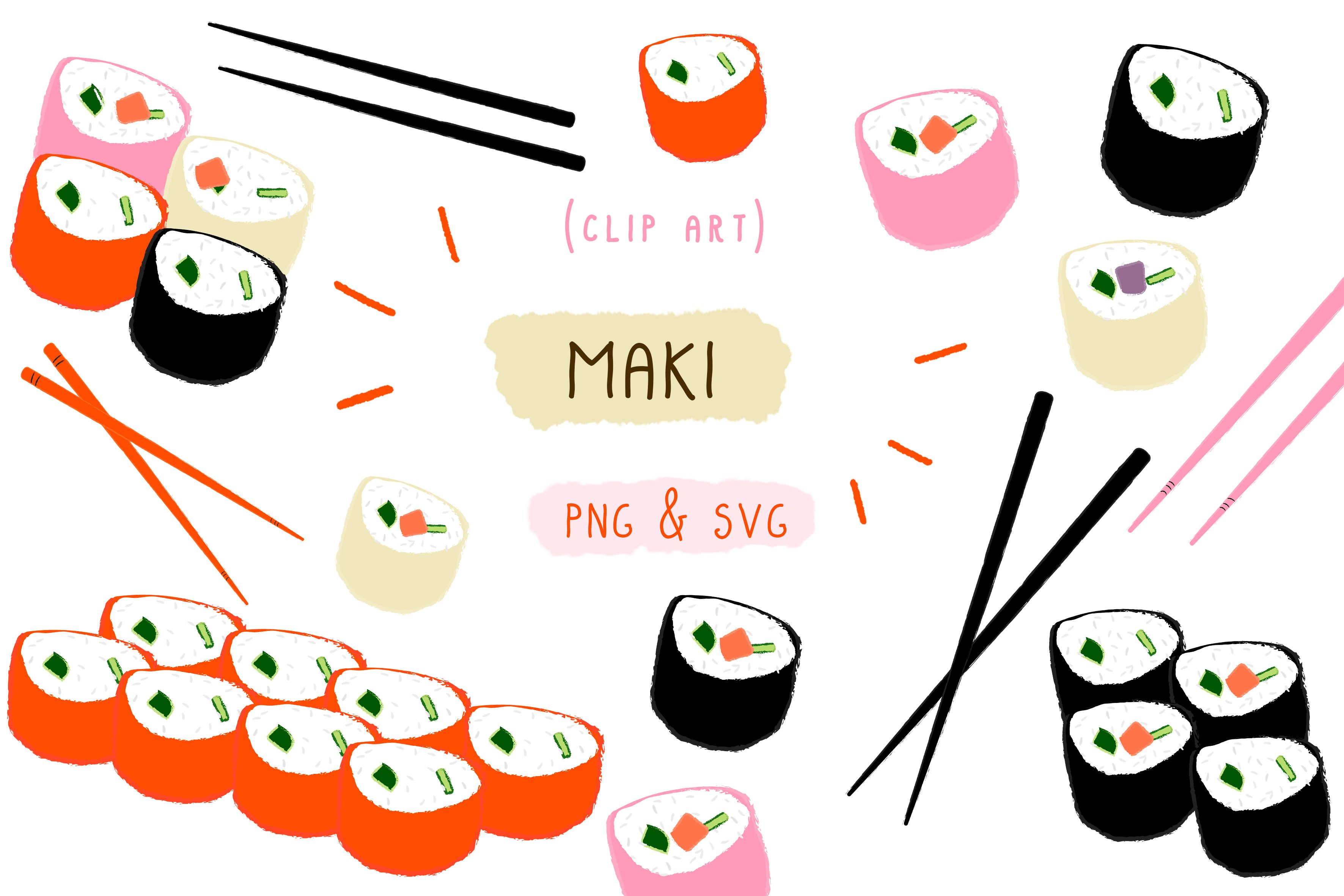 Maki Sushi Japan, Japanese Food Clipart (Graphic) by