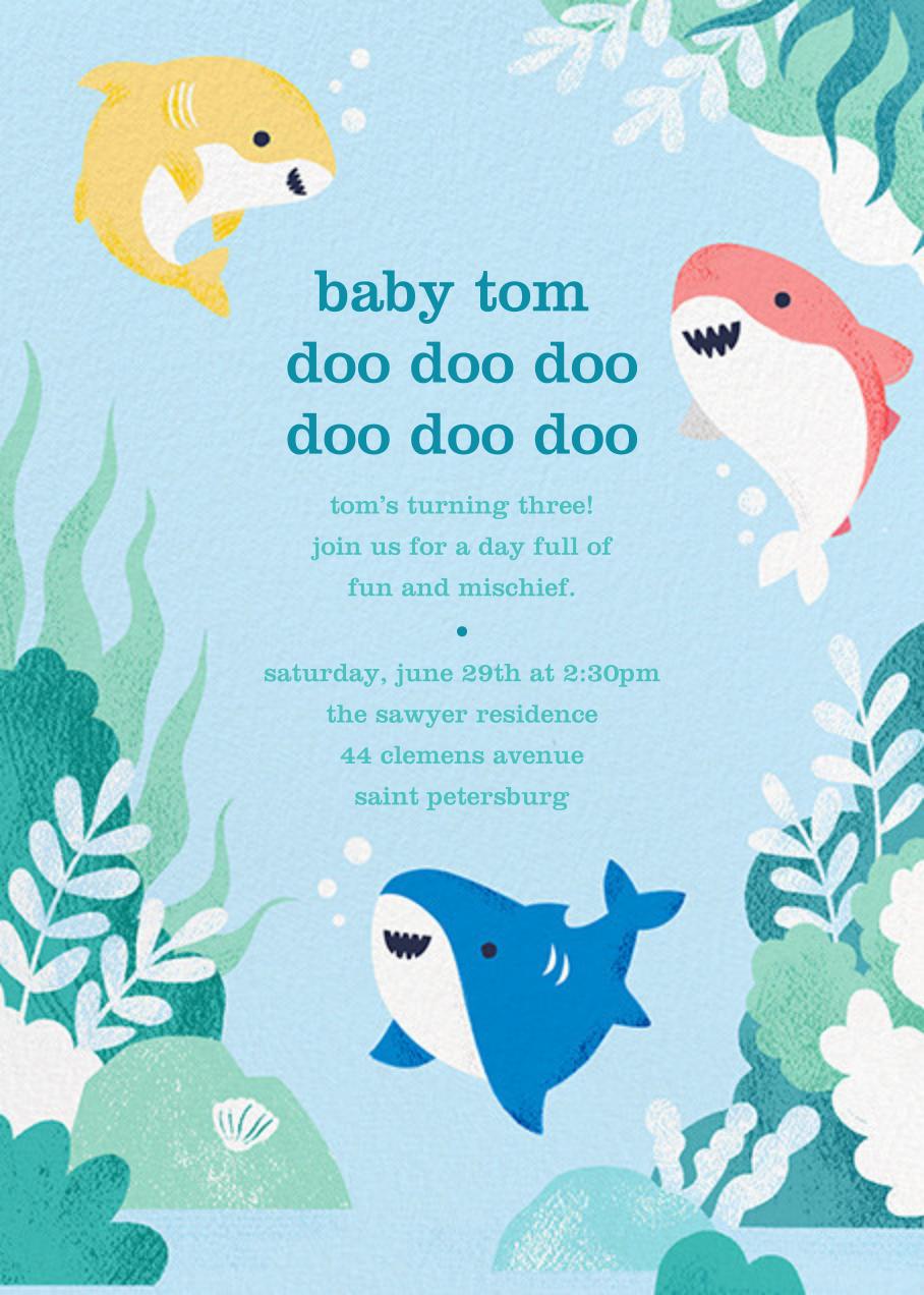 Shark Your Calendar Online At Paperless Post Doo Doo Doo Calling All Momm Birthday Invitations Kids Shark Birthday Invitations Shark Themed Birthday Party