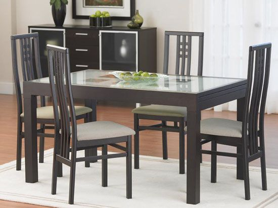 Blues Dining Table Dania 695 5 The Blues Dining Table Features An Inset Glass Top With A Hidden Extensio Blue Dining Tables Table Dining Room Furniture