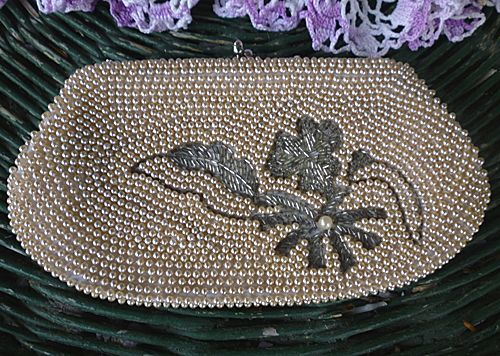 Hand Beaded White Satin Clutch Purse Pearls Flowers Vintage Japan Tiny round beads with pearl lustre luster contrasted with big flower and leaves
