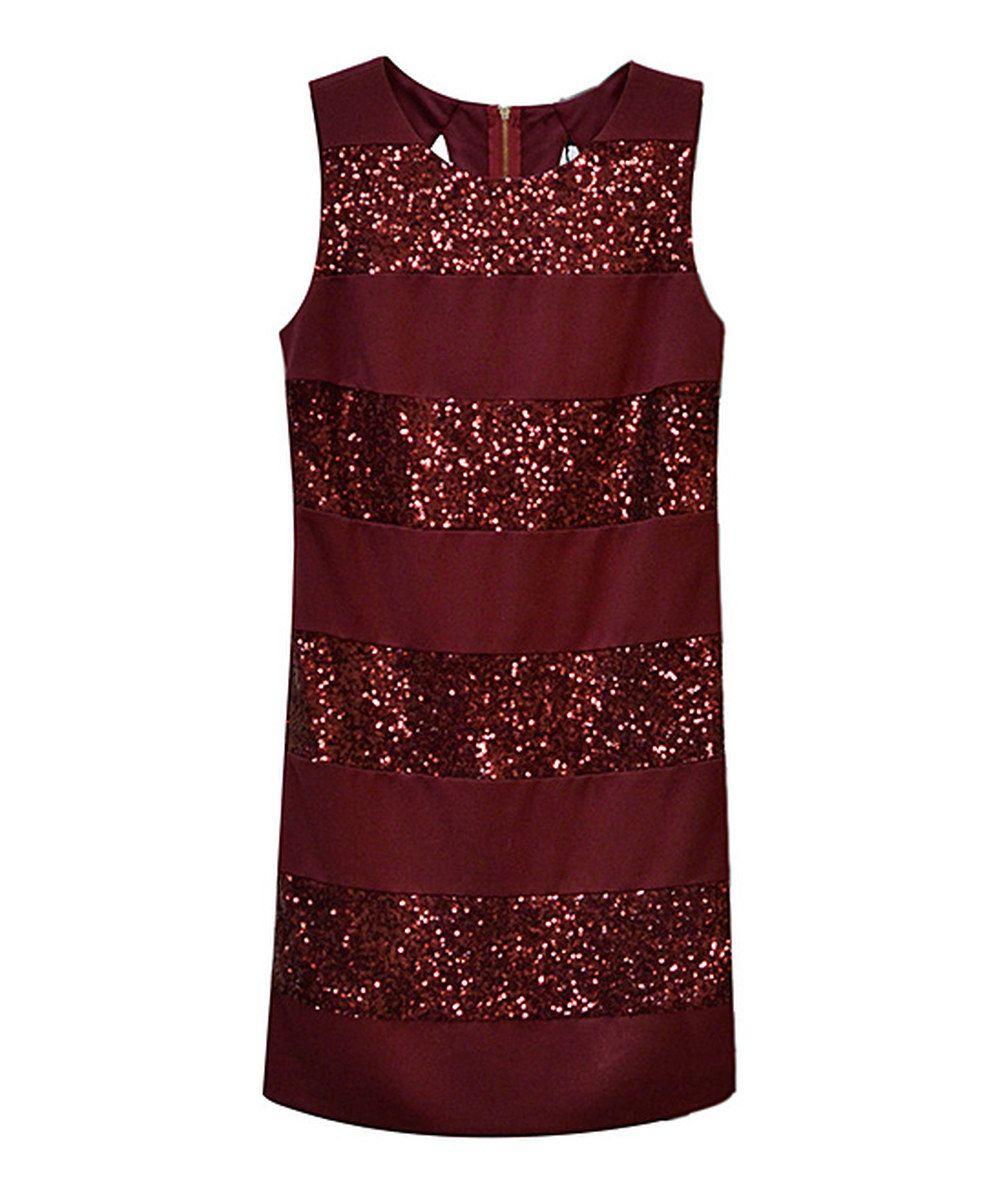Red sequinstripe shift dress by potterus pot zulily zulilyfinds