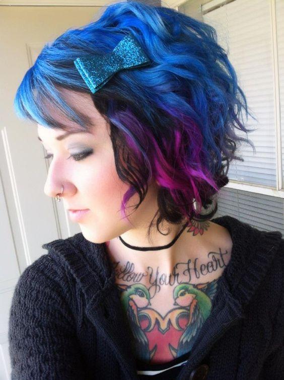 Medium Length Blue Ombre Hair Black Hair Dye Tumblr Hair Hair