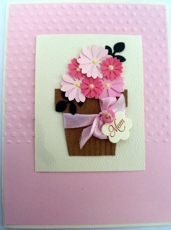 Paper Flower Pot Handmade Mothers Day Card By Guatemalagreetings