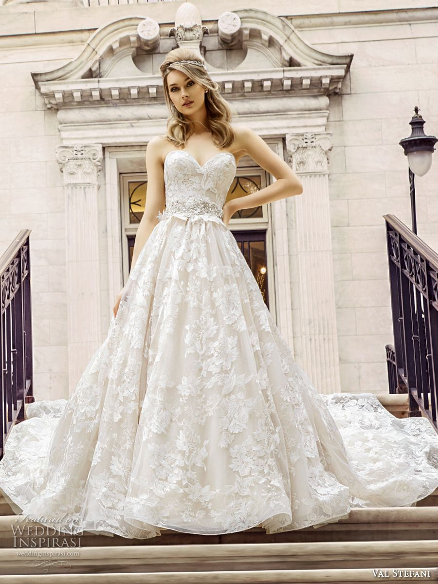val stefani spring 2017 bridal strapless sweetheart neckline full embellishment beautiful romantic princess a  line wedding dress royal train (d8125) mv -- Val Stefani Spring 2017 Wedding Dresses