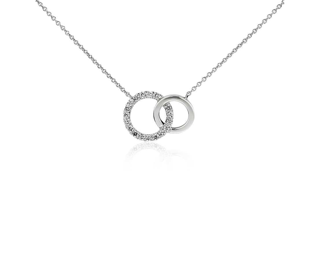 Mini duet circle diamond necklace in 14k white gold white gold mini duet circle diamond necklace in 14k white gold mozeypictures Choice Image