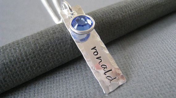 Hand Stamped Necklace Sterling Silver by hiphophippos on Etsy
