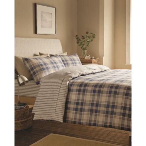 Catherine Lansfield Home Cosy Corner Brushed Cotton Tartan Double Bed Duvet Cover Set Navy Tartan Bedding Flannelette Bedding Navy Bed Set