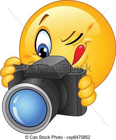 Emoticon, fotoapperat. Emoticon, foto, nehmen.