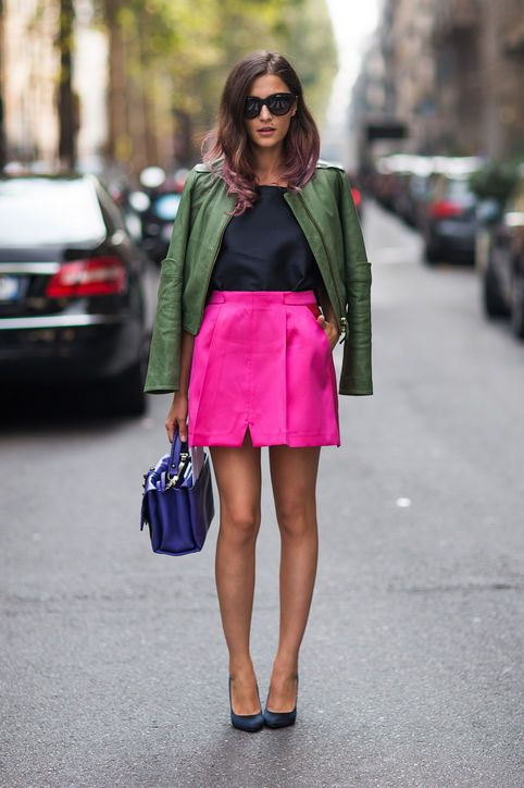 aeae04cf225 Army Green   Hot Pink for Fall - Stockholm Streetstyle - Army green and hot  pink just might be our favorite of the new color combinations for the  season.