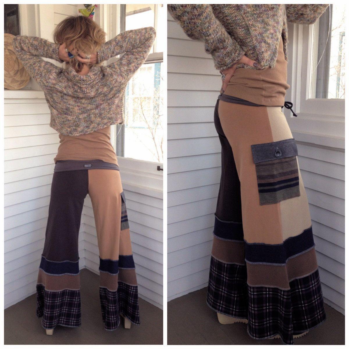 Patchwork Eco Gaucho PANTS upcycled clothing yogafestival by zasra ...