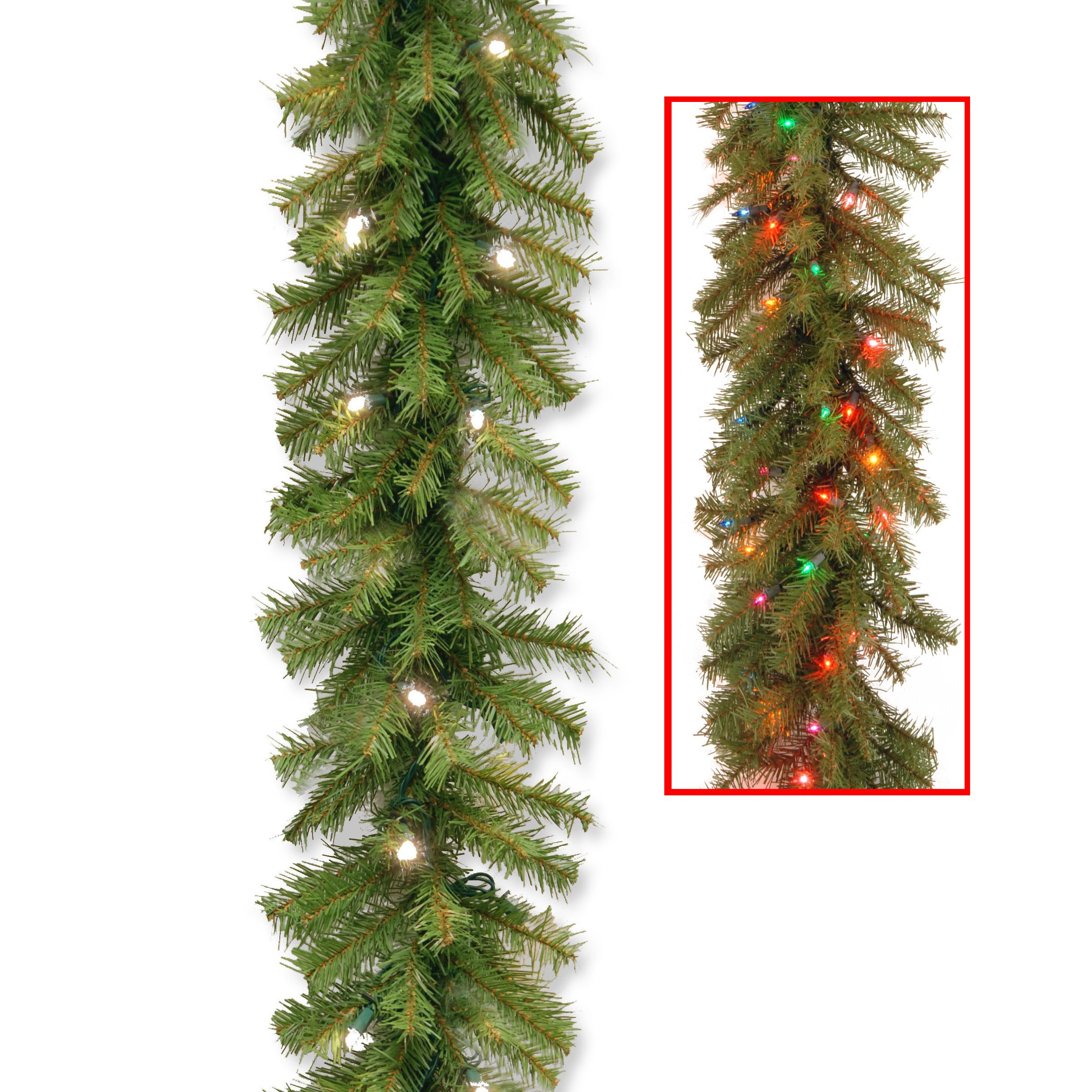 Norwood Fir 9-foot Garland with 50 Dual Warm White/ Multi ...