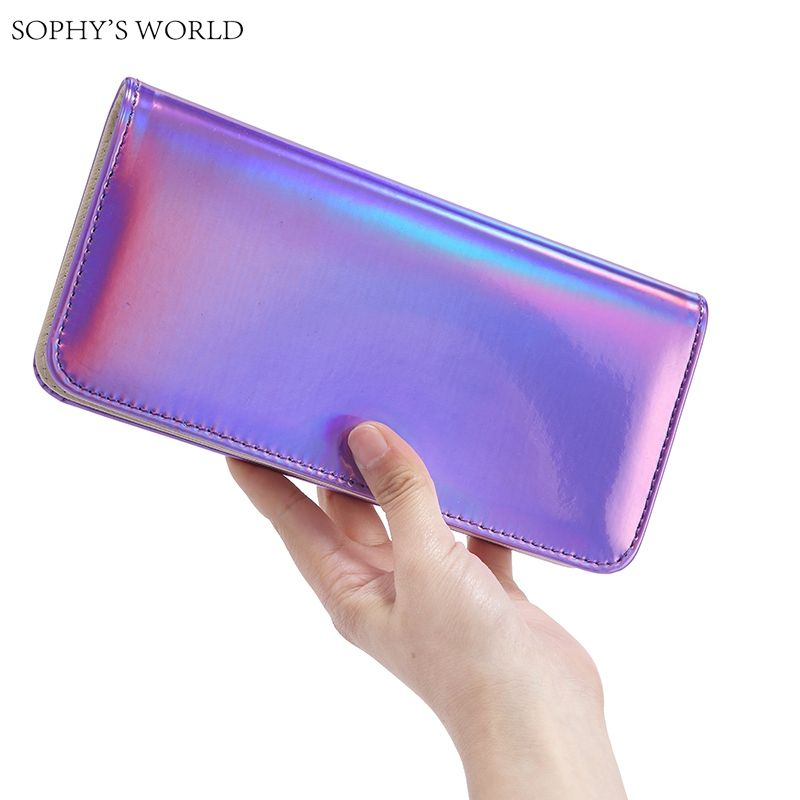 Fashion Women Leather Wallet Hologram Color Clutch Wallets And Purses  Leather Long Brand Money Purse Credit Card Wallet 476ed3866a7d3