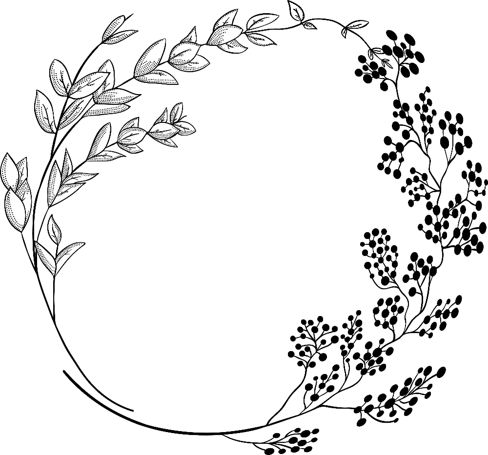 Photo of Geometric vector floral wreath. SVG, EPS, PNG. Round, oval. Hand drawn delicate flowers, branches, leaves, bloom, laurel, rustic botanical